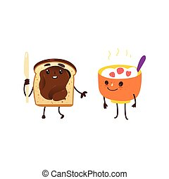 Funny breakfast characters - oatmeal and toast