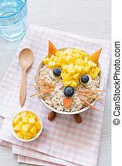 Funny Breakfast For Kids Oatmeal Porridge