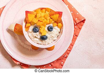 Funny Breakfast For Kids Oatmeal Porridge.
