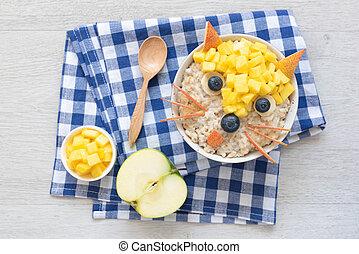Funny Breakfast For Kids. Oatmeal Porridge With Cute Fruit Face