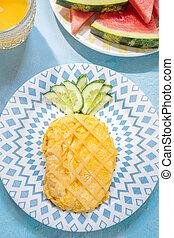 Funny Breakfast for kids - omelette look like pineapple