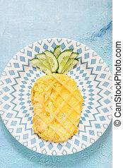 Funny Breakfast omelette look like pineapple