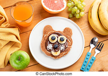 Funny breakfast pancake for kids. Food art