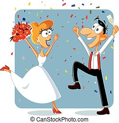 Funny Bride and Groom Dancing at their Wedding Vector.eps