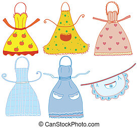 Funny bright  aprons set with differrent patterns