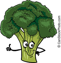 funny broccoli vegetable cartoon illustration - Cartoon...
