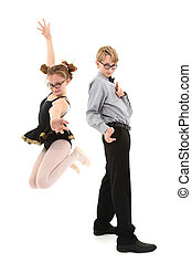 Funny brother and sister over white in nerd fashion. Clipping path.