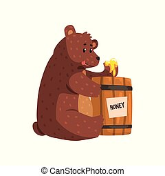 Funny brown bear eating honey from wooden barrel. Cartoon forest animal with short tail, small ears and shiny eyes. Flat vector for kids book, sticker or greeting card