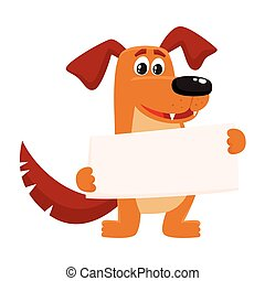 Funny brown dog character holding empty board