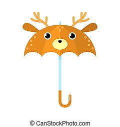 Funny brown umbrella with deer animal face vector illustration