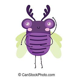 funny bug animal cartoon icon in isolated style