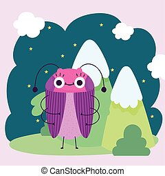 funny bug animal mountains bushes nature cartoon