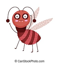 funny bug ant icon cartoon in isolated style