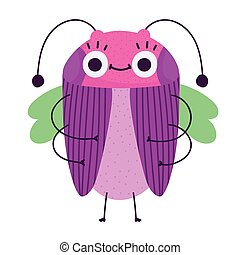 funny bug cartoon icon in isolated style