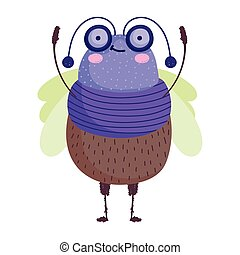 funny bug icon cartoon in isolated style