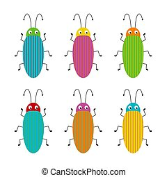 Funny bug set. Collection happy cartoon insects. Colorful illustration.