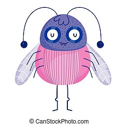 funny bug with antennas and wings icon cartoon in isolated style