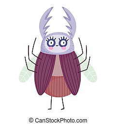 funny bug with big eyes icon cartoon in isolated style