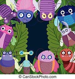 funny bugs animals foliage leaf botancial cartoon
