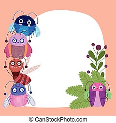 funny bugs animals leaf nature cartoon card template
