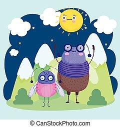 funny bugs animals mountains grass sun sky cartoon
