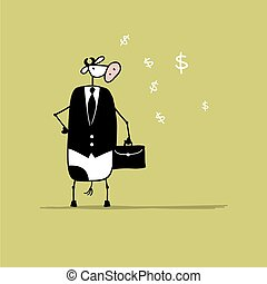 Funny bull businessman with suitcase, sketch