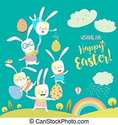 Funny bunnies celebrating Easter. Vector greeting card