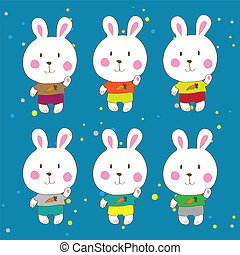 Funny bunnies on a white background Vector characters.