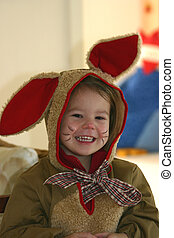 funny bunny - little girl dressed up for carnival