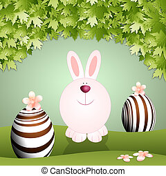 Funny bunny with chocolate eggs