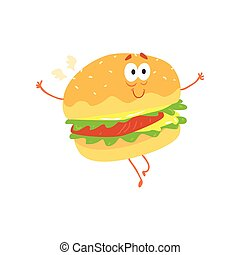 Funny burger cartoon fast food character, element for menu of cafe, restaurant, kids food, vector Illustration