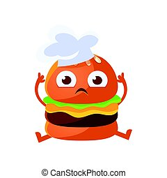 Funny burger with big eyes sitting wearing in a chef hat. Cute cartoon fast food emoji character vector Illustration