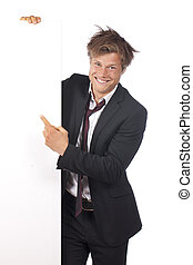 Funny business man pointing at a white board