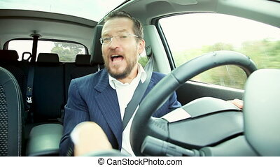 Funny business man singing in car