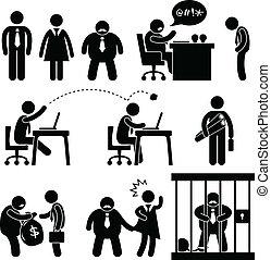 Funny Business Office Boss Icon - A set of pictogram...