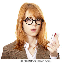 Funny business women in glasses calling by phone.
