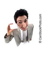 Funny businessman holding card