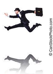 Funny businessman jumping on white
