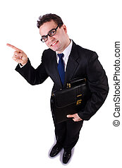 Funny businessman on white background