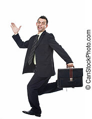 Funny businessman running