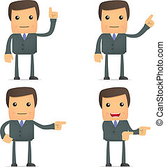 funny  businessman shows his finger to the side