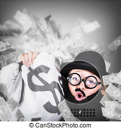 Funny businessman with falling money. Success