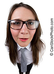 Funny businesswoman with glasses