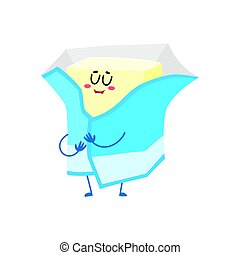 Funny butter character with smiling human face wrapped in foil