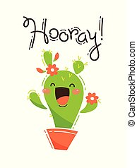Funny cactus yells Hooray. Vector illustration in cartoon...