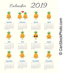 Funny calendar 2019 with pineapples