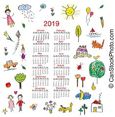 Funny calendar with kids drawings illustration - Funny...