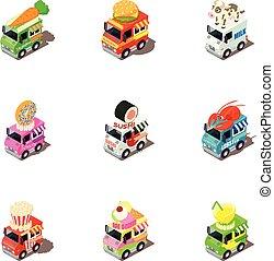 Funny car icons set, isometric style