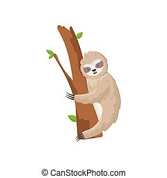 Funny card little sloth on tree isolated on white background