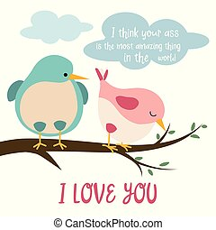 Funny card with birds in love